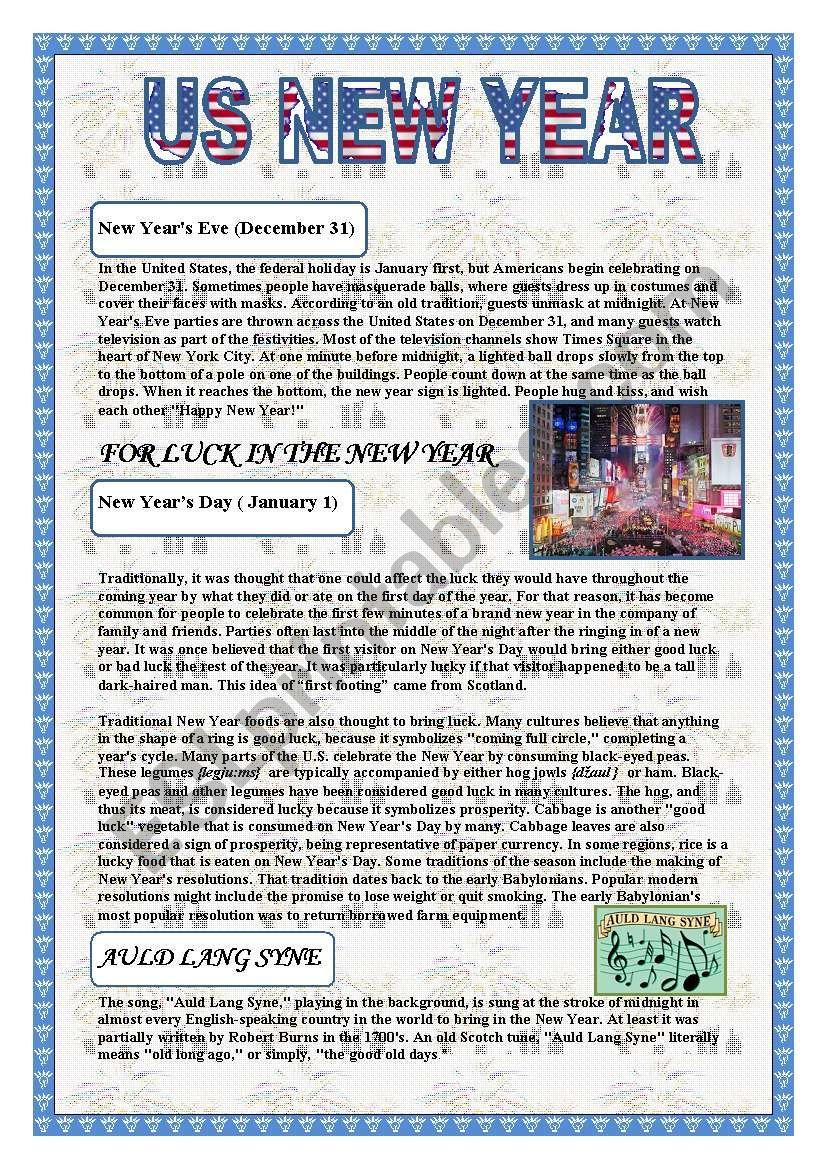 US New Year worksheet