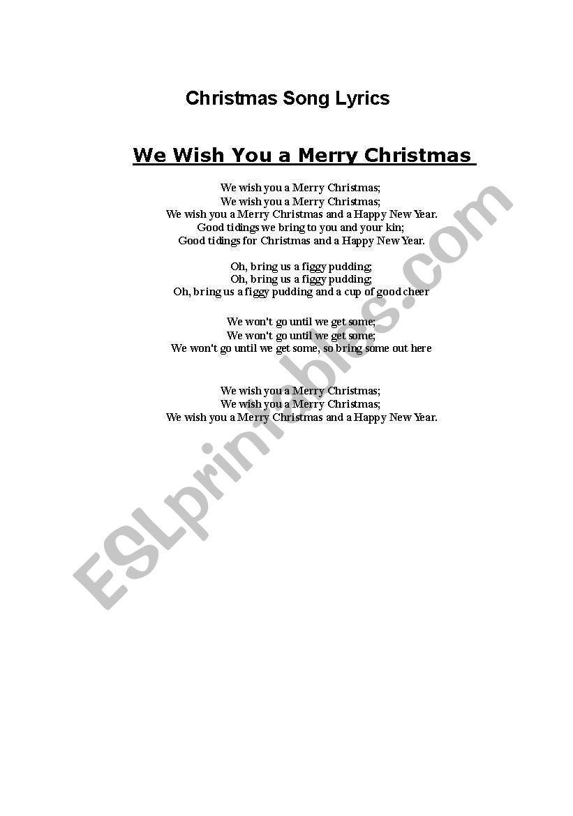 English worksheets: Christmas Song lyrics: We wish you a merry christmas