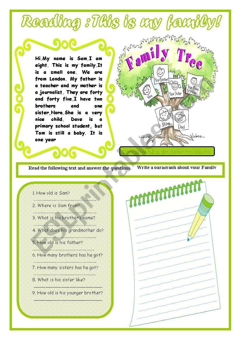 Reading  : This Is My Family worksheet