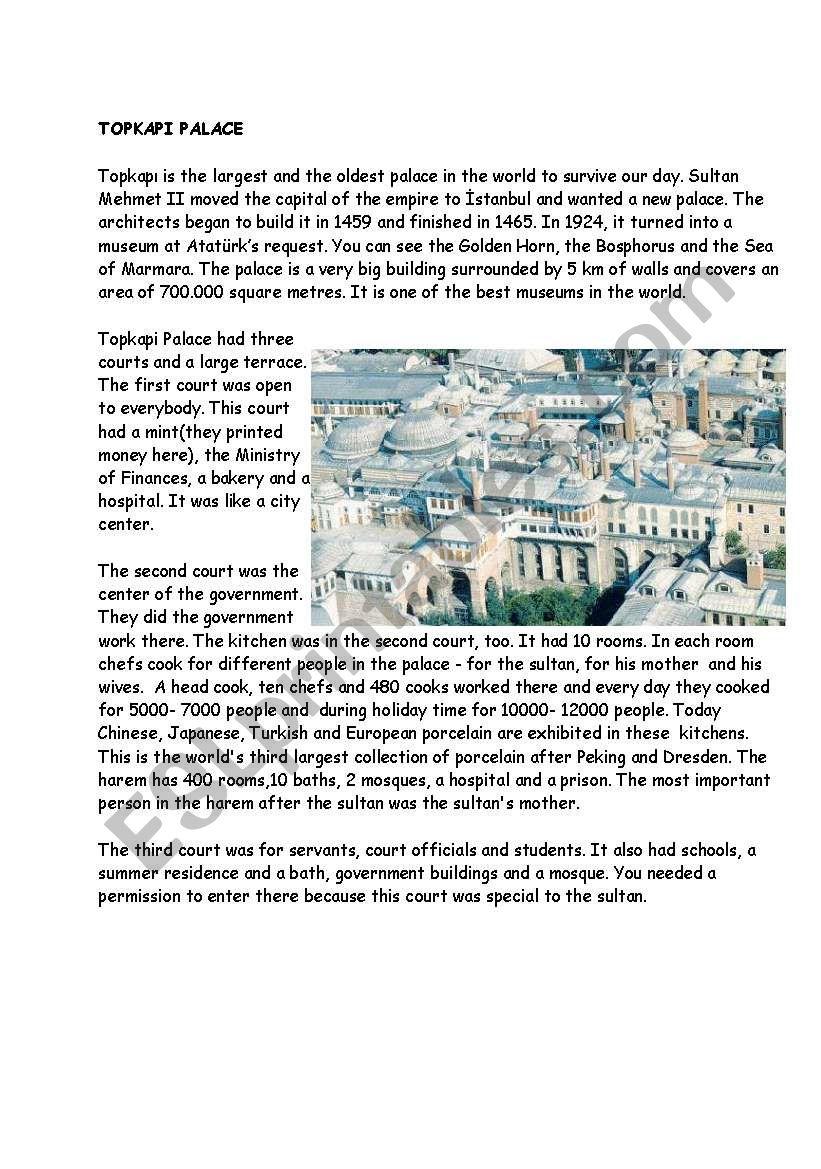 Topkapi Palace worksheet