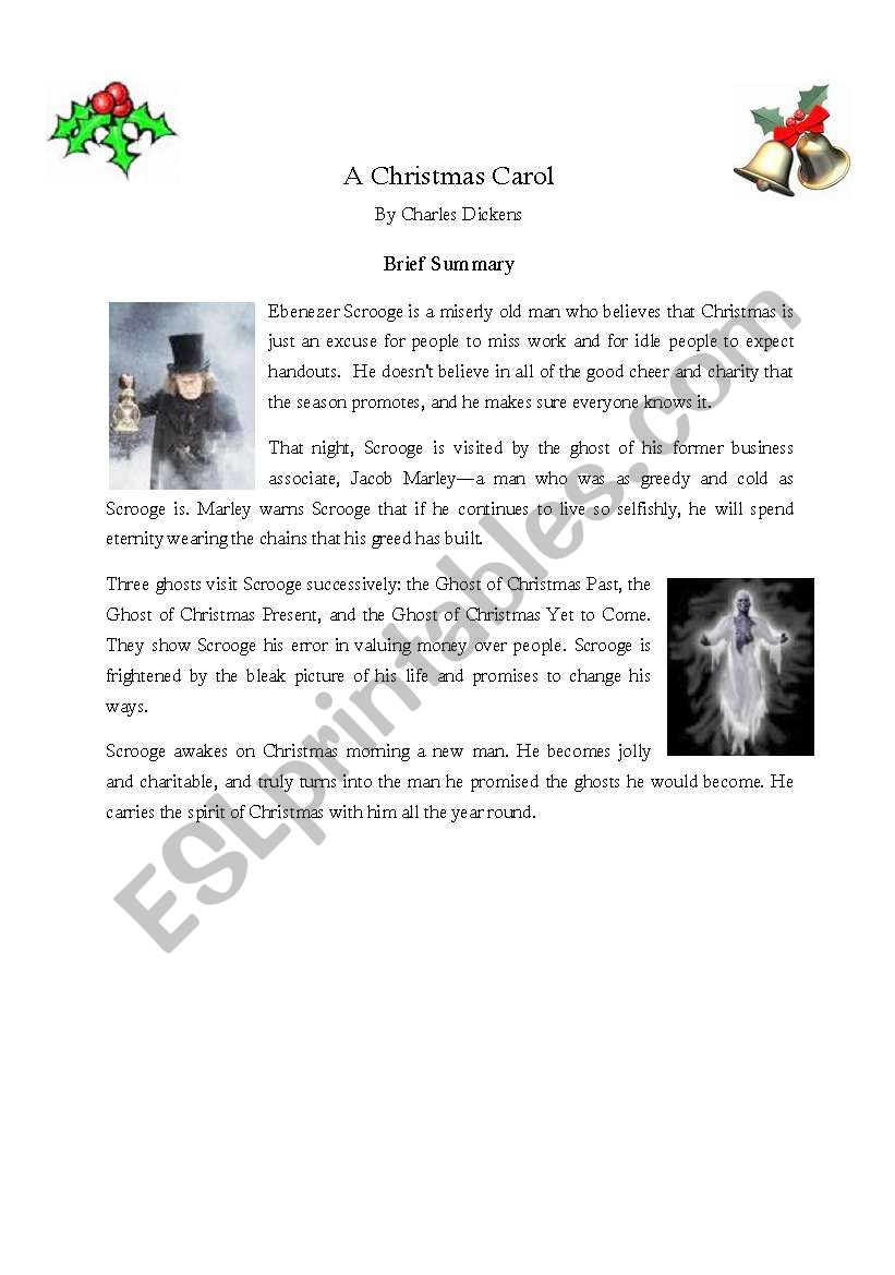 A Christmas Carol Summary.A Christmas Carol Brief Summary Esl Worksheet By