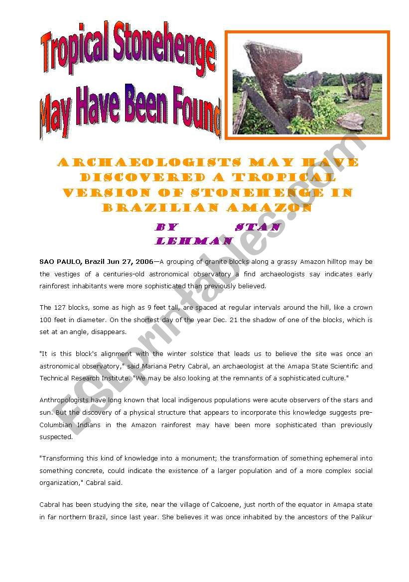 Tropical Stonehenge worksheet