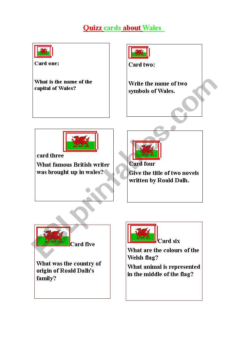 quizz cards about Wales worksheet