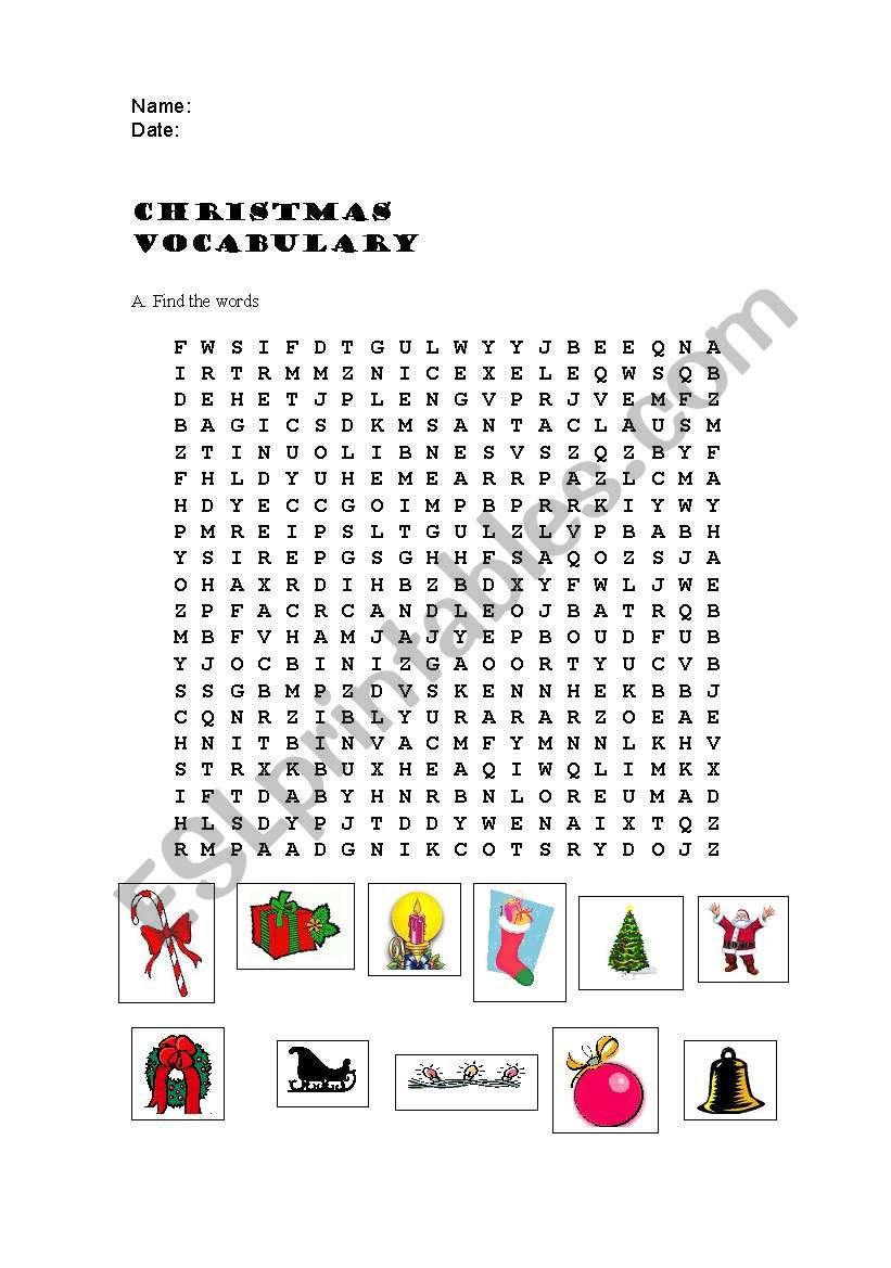 Christmas wordsearch worksheet