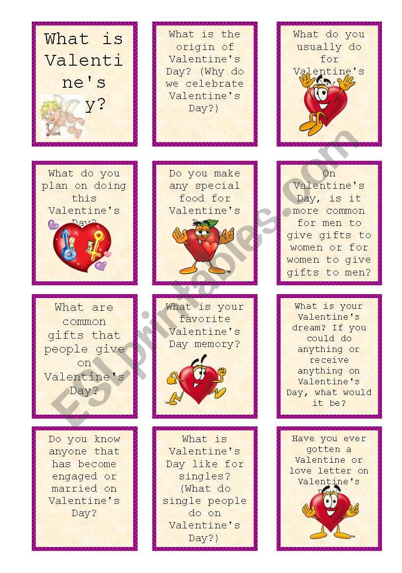 St. Valentine´s question cards (part I - game board)