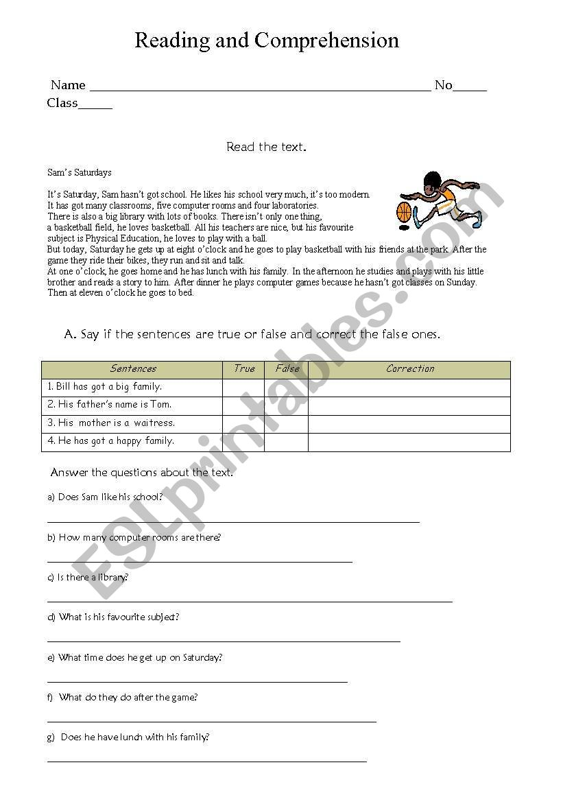 Reading and comprehension worksheet