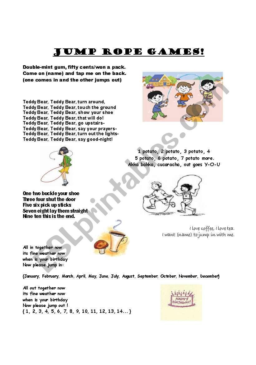 Jump Rope Rhymes worksheet