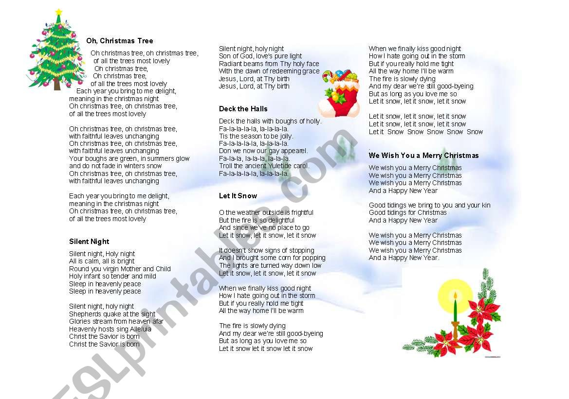 XMAS SONGS - ESL worksheet by yeuchina