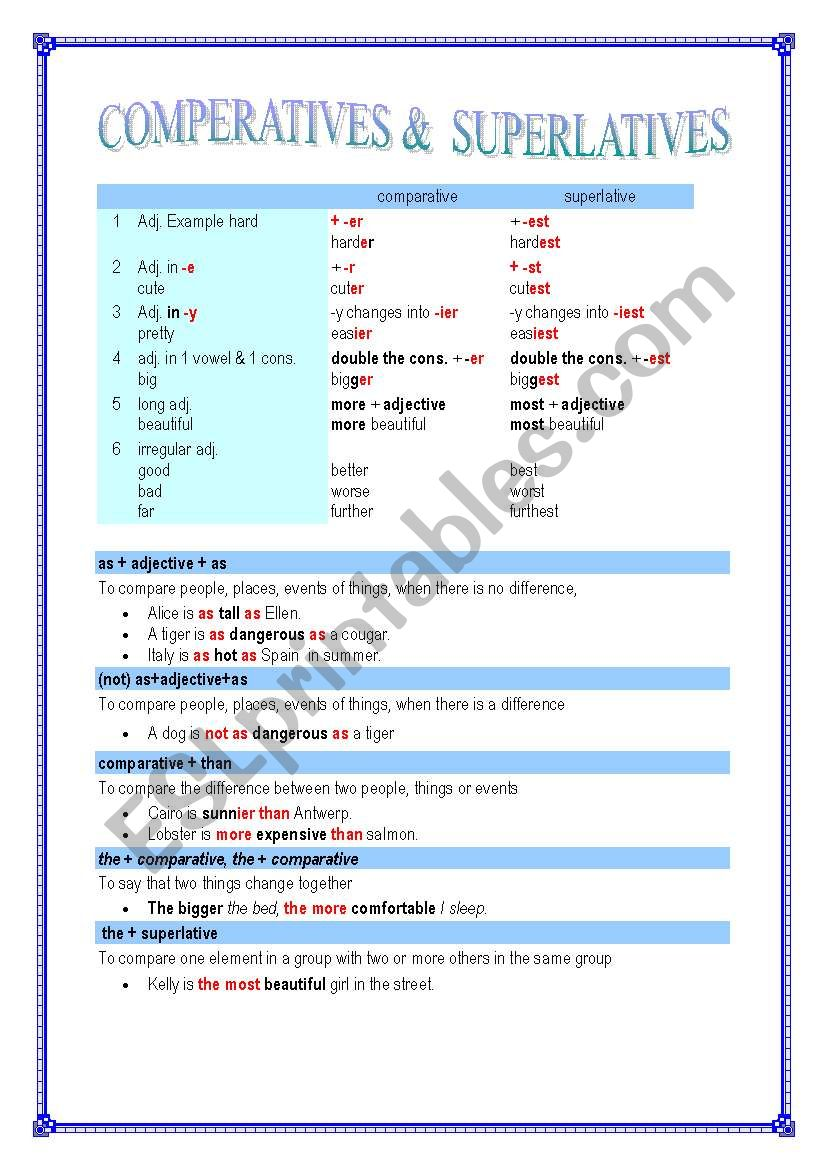 COMPARATIVES & SUPERLATIVES (5 pages) - different levels