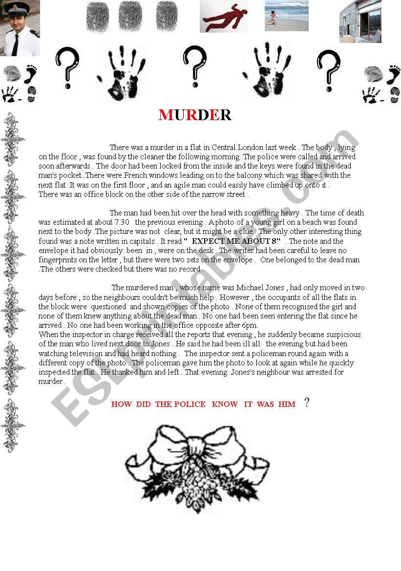 Reading comprehension about a murder in Central London
