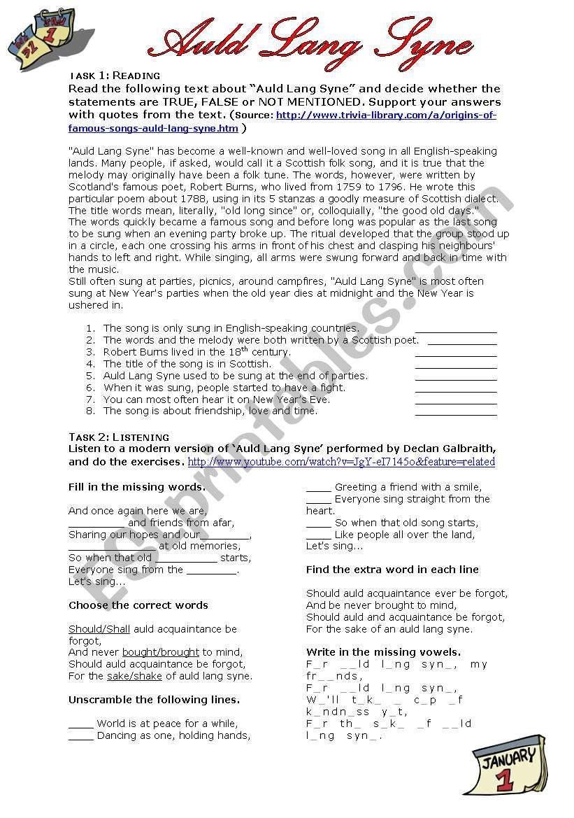 graphic relating to Auld Lang Syne Lyrics Printable called Auld Lang Syne - ESL worksheet by means of jujuka