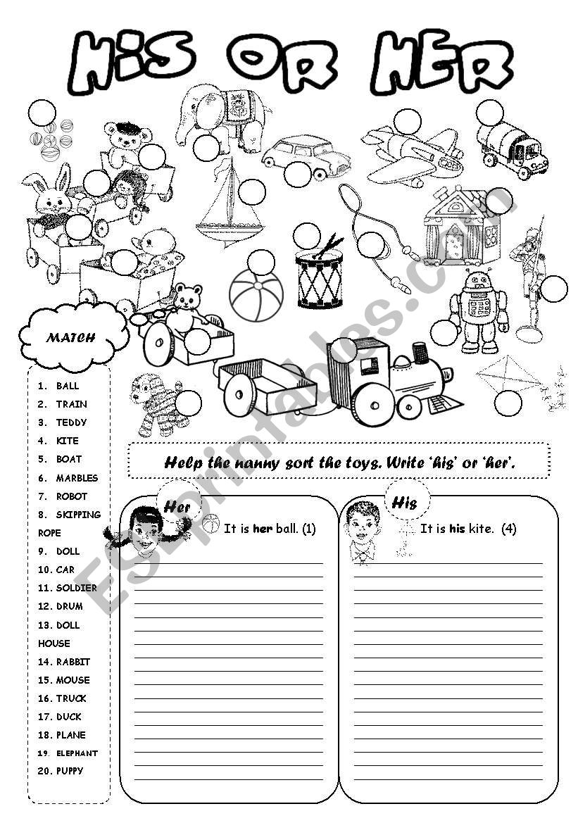 His or Her TOYS worksheet