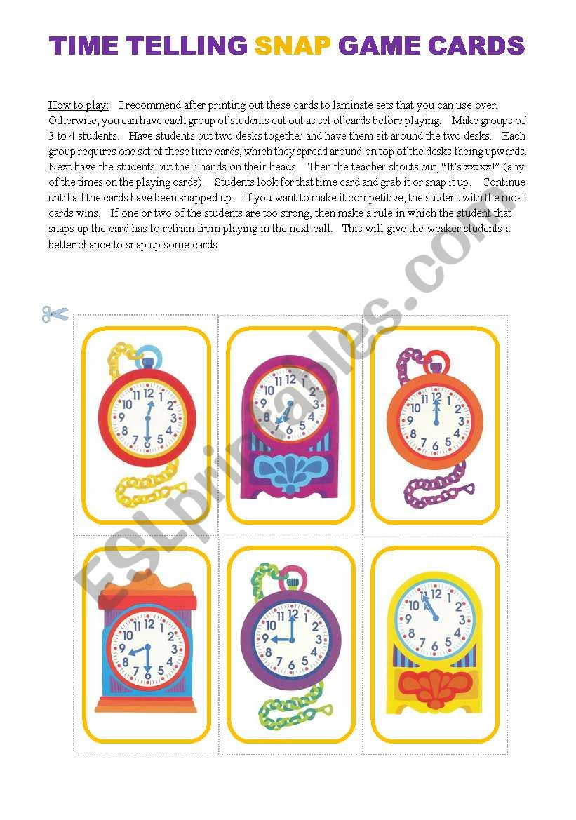Basic Time Telling Game (15 Cards)