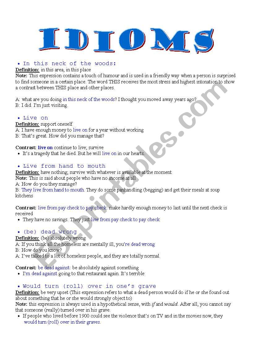 Idiomatic expressions 2 - ESL worksheet by agusjavier