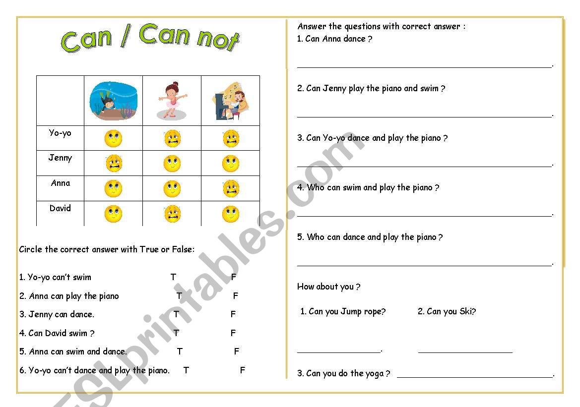 can / can not worksheet
