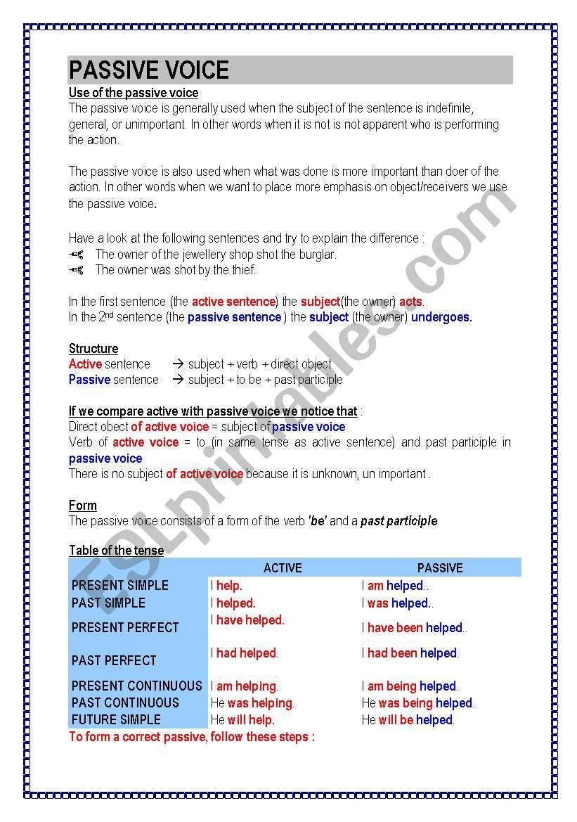 Passive voice (4 pages) theory - exercices - ESL worksheet