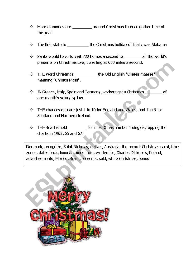 Interesting facts on Christmas - ESL worksheet by blizard