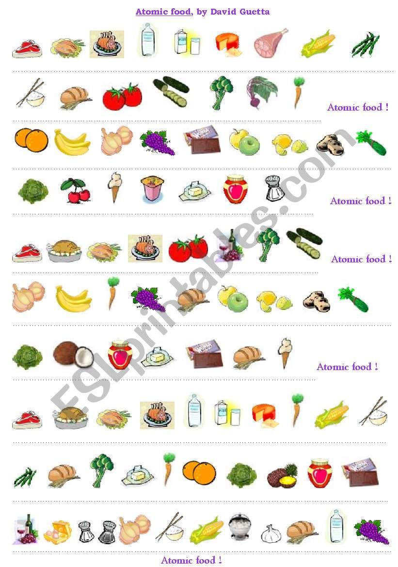 ATOMIC FOOD by David Guetta worksheet