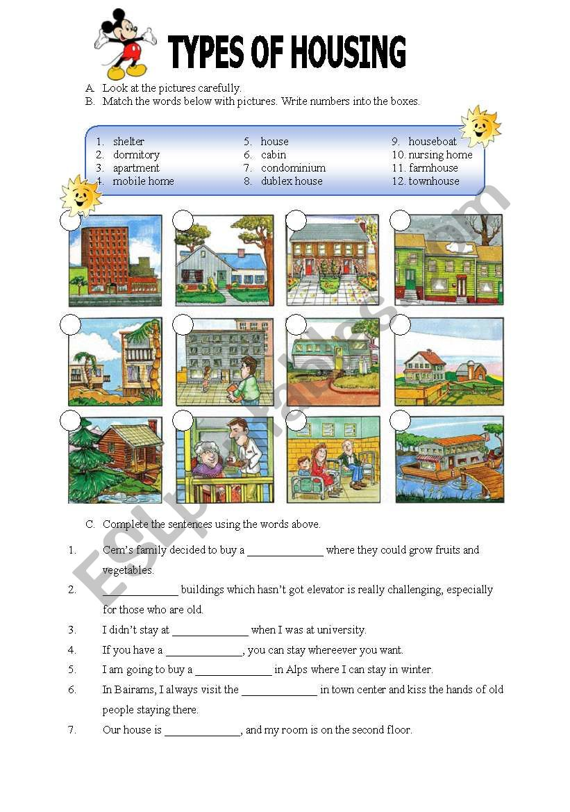Types of Housing worksheet