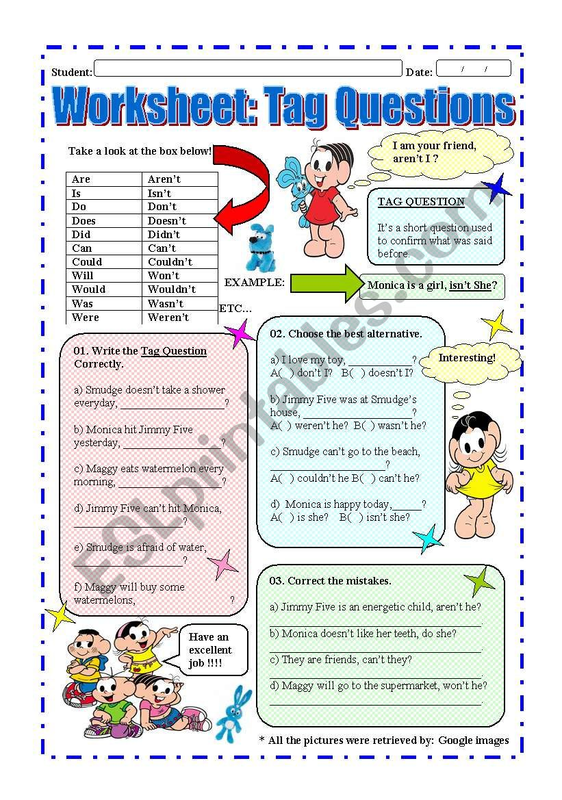 Worksheet: Tag questions worksheet