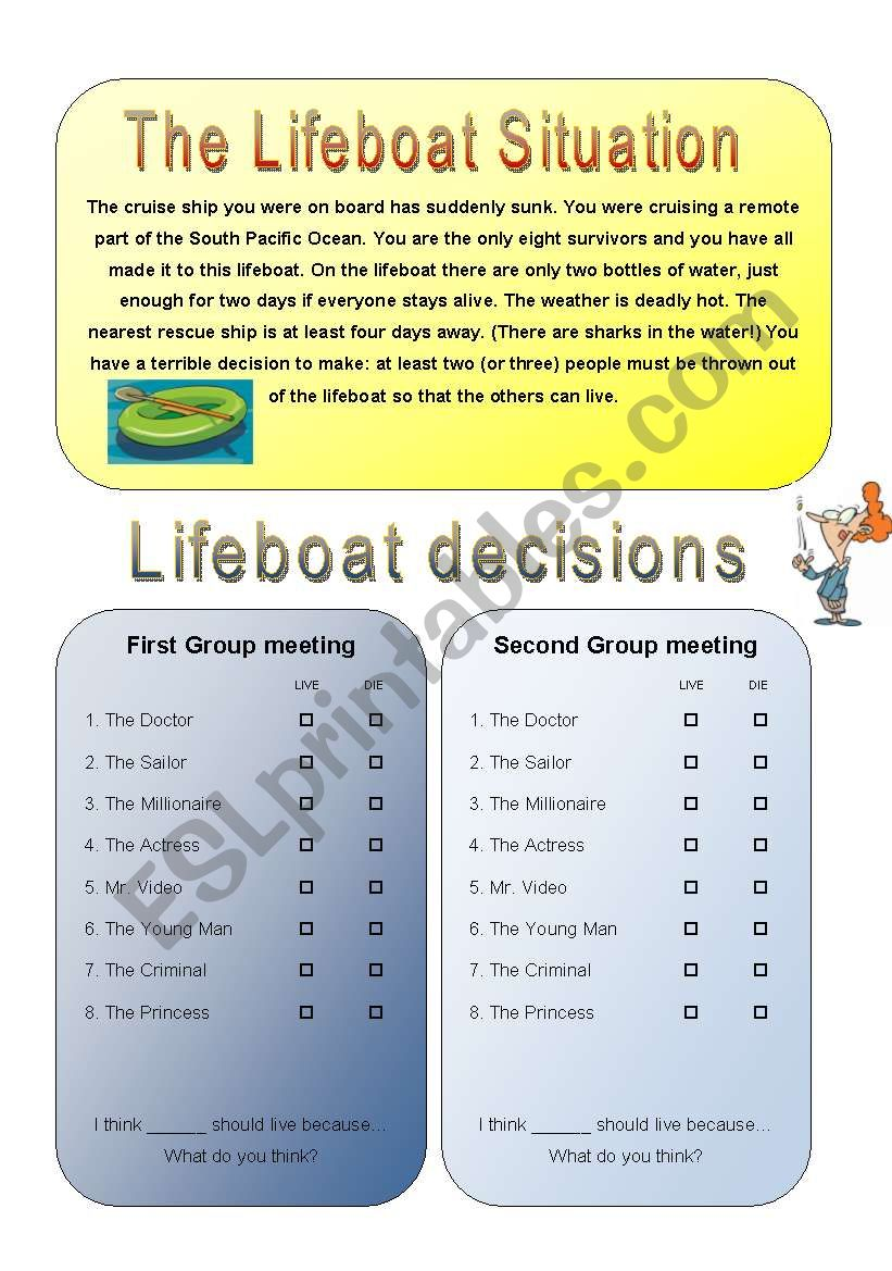 Get your class talking - THE LIFEBOAT 2/4