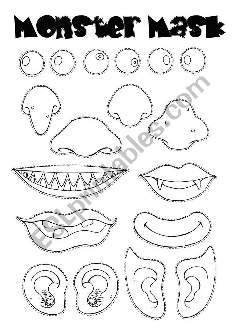 Monster mask worksheet