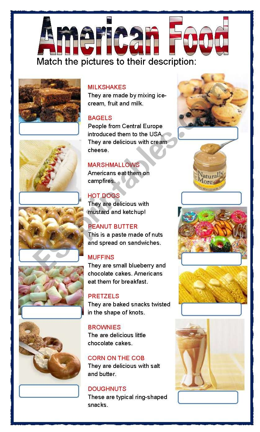 (set 1/8) AMERICAN FOOD  worksheet