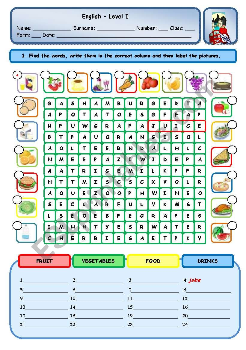 FOOD - DRINKS - VEGETABLES - FRUIT
