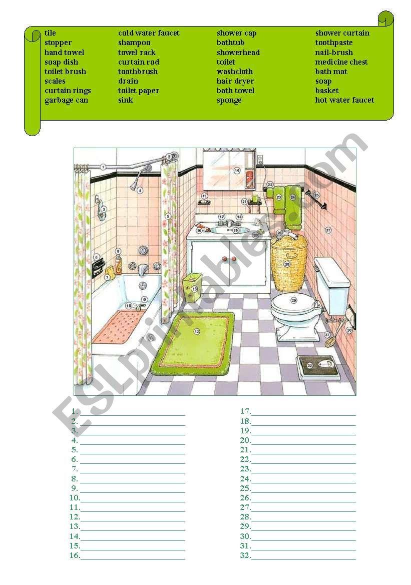 In the BATHROOM worksheet
