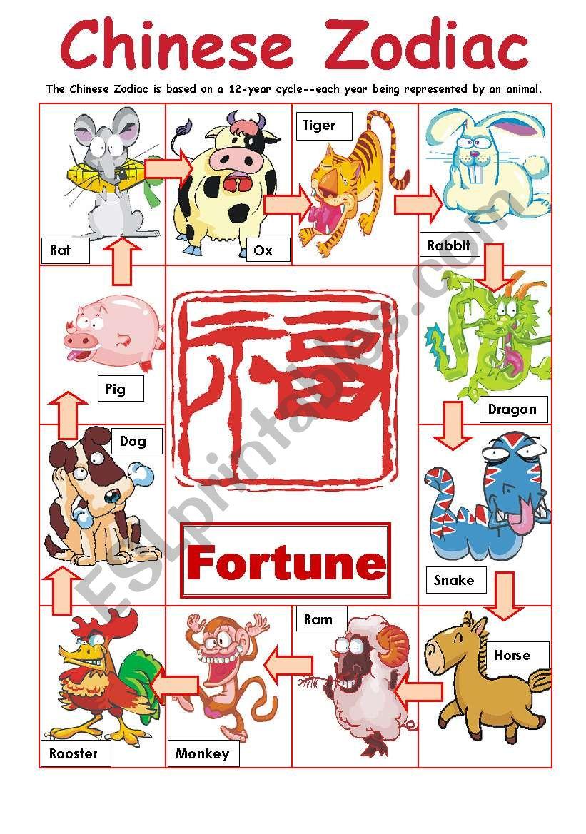 Animated Chinese Zodiac worksheet