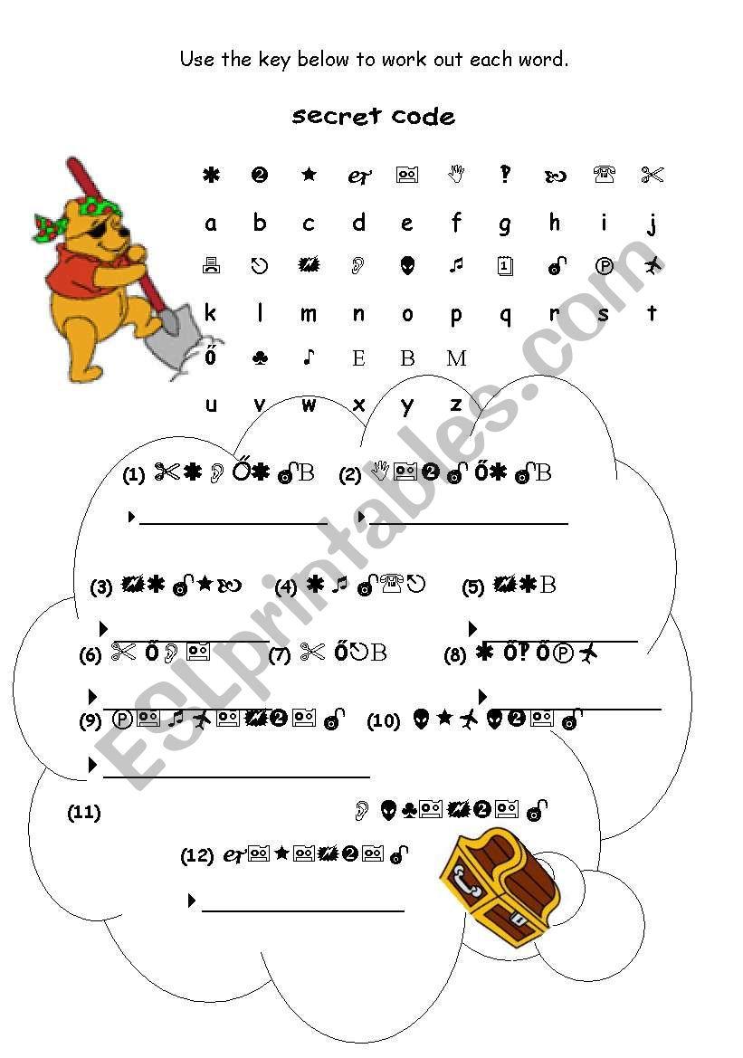 secret code puzzle - months - ESL worksheet by bdm560
