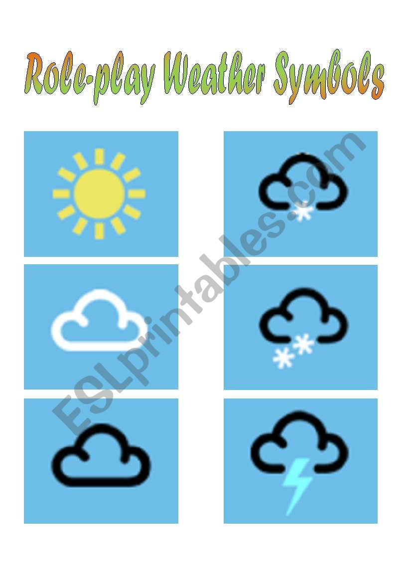 English Worksheets Weather Symbols