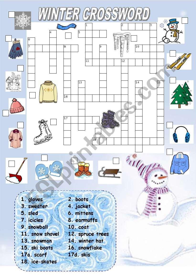 winter crossword esl worksheet by kamilam. Black Bedroom Furniture Sets. Home Design Ideas