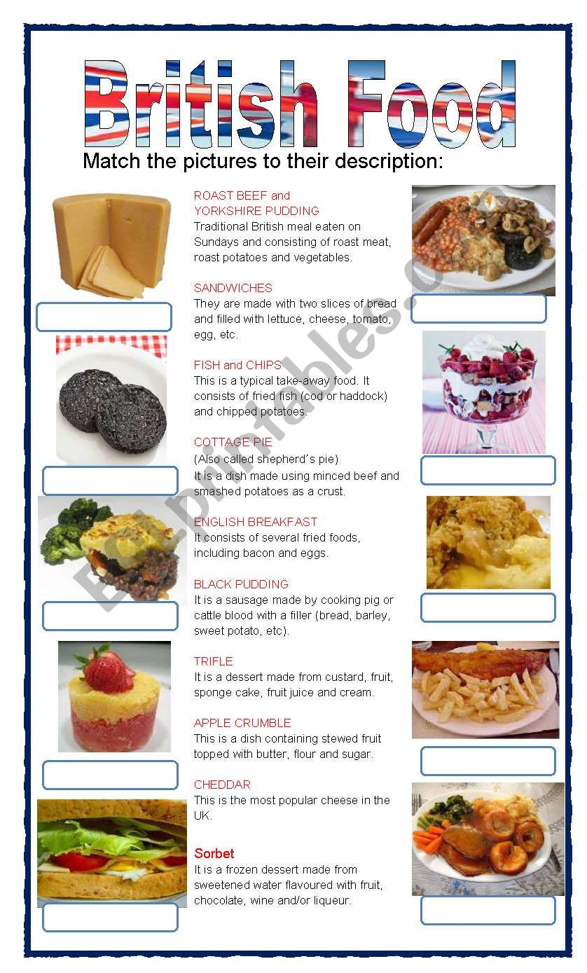 (set 2/8) BRITISH FOOD worksheet