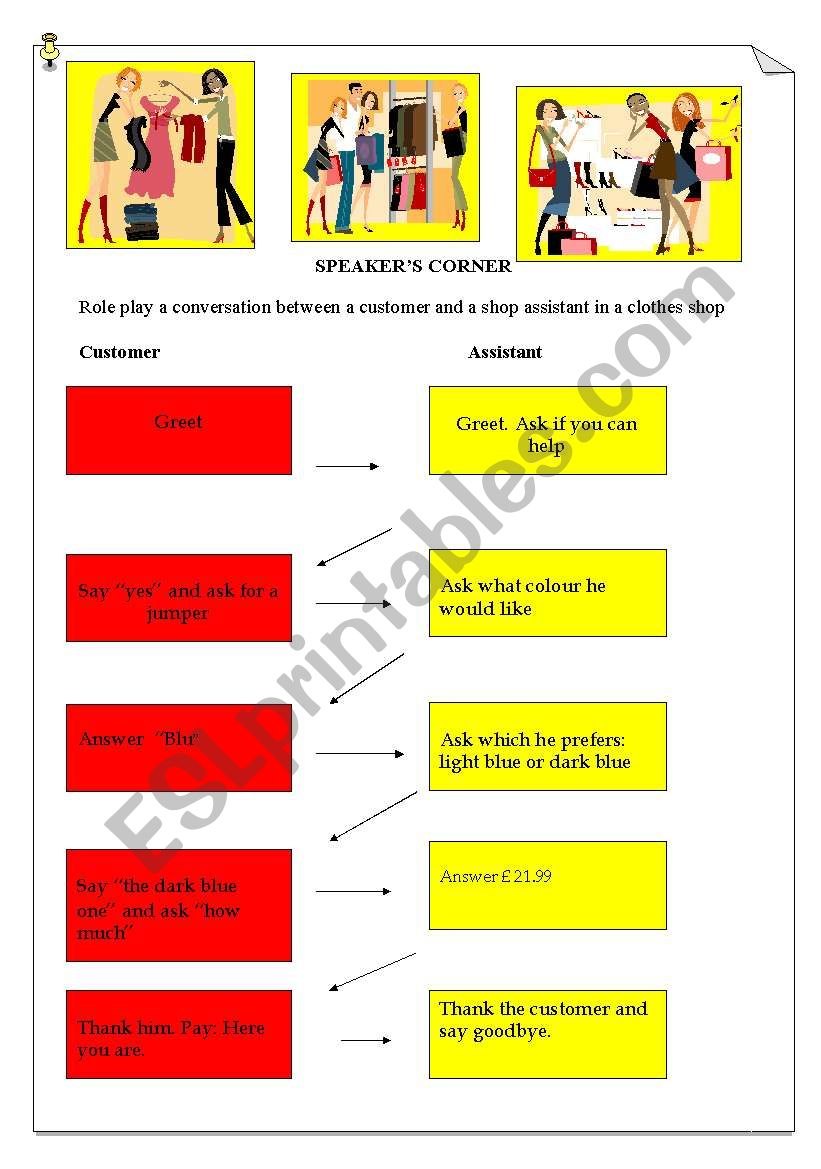 Role Play   Shopping worksheet