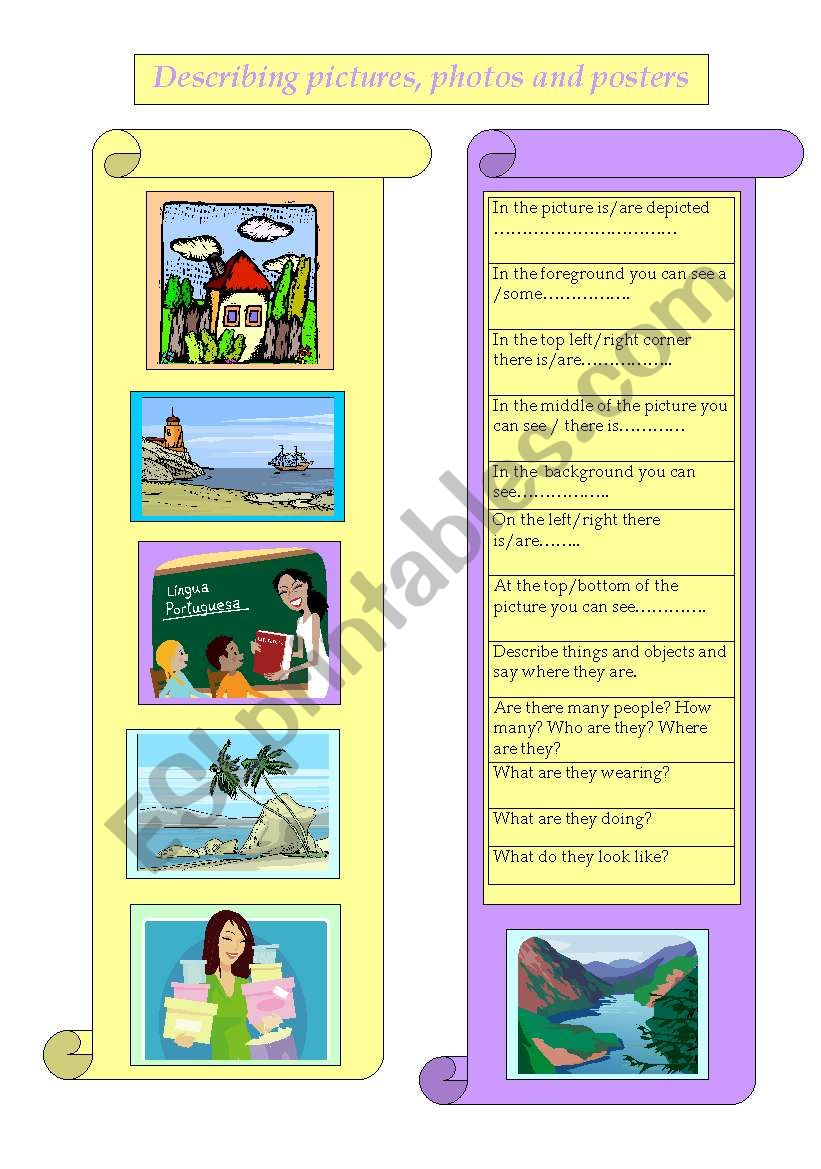 Describing pictures, photos and posters
