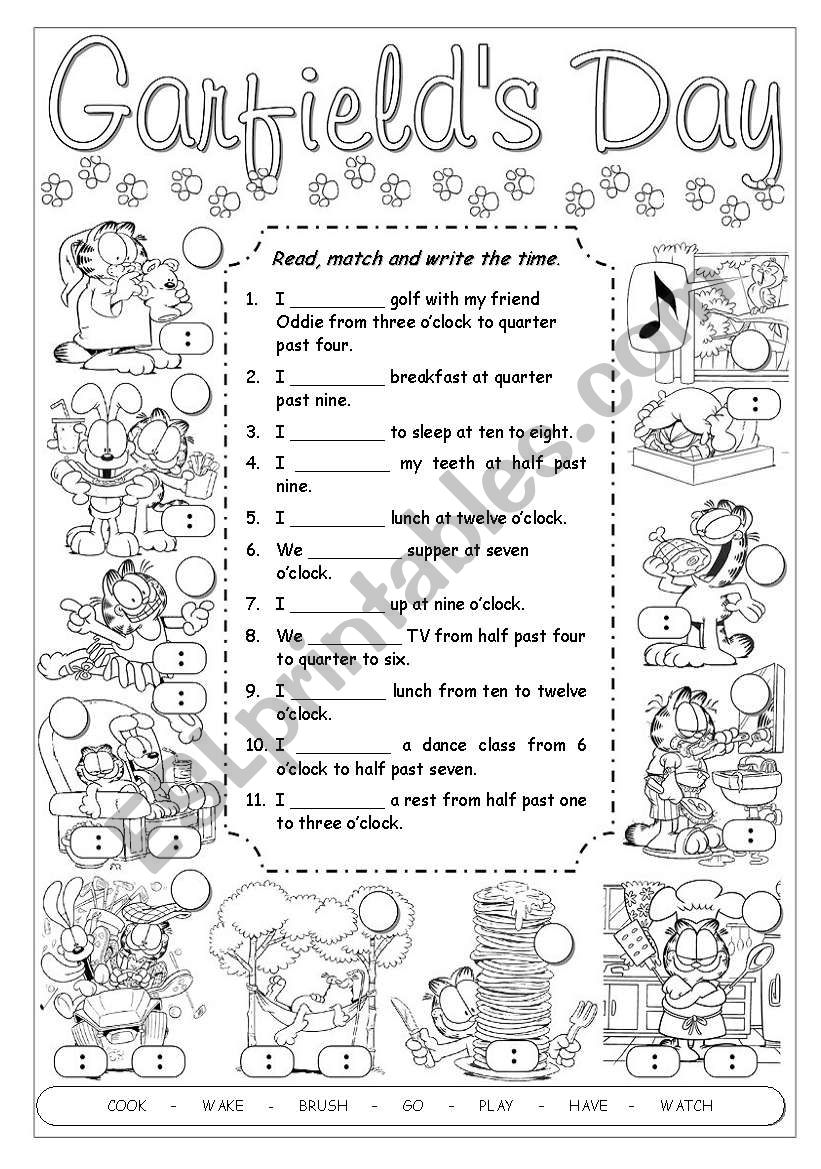 Garfield´s Daily Routines worksheet