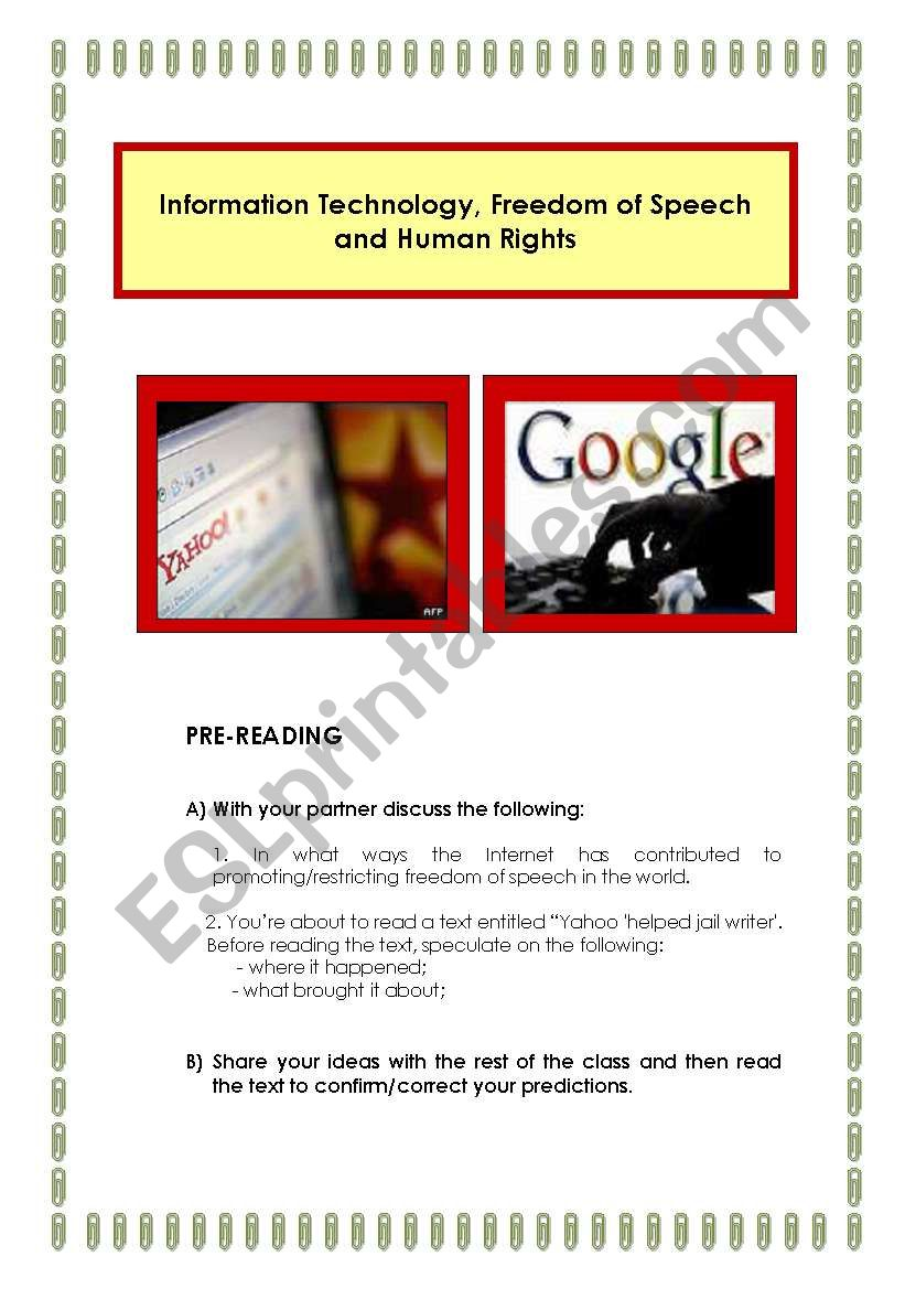 Information Technology, Freedom of Speech and Human Rights