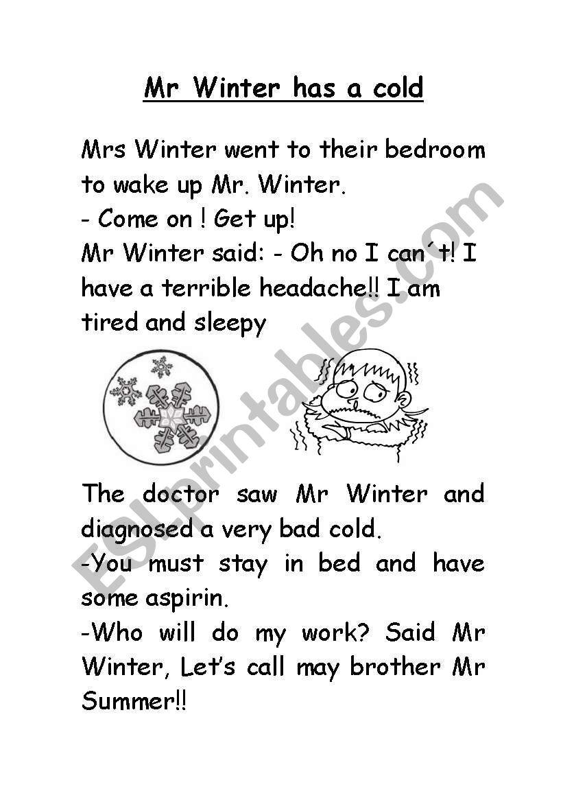 Mr Winter story worksheet
