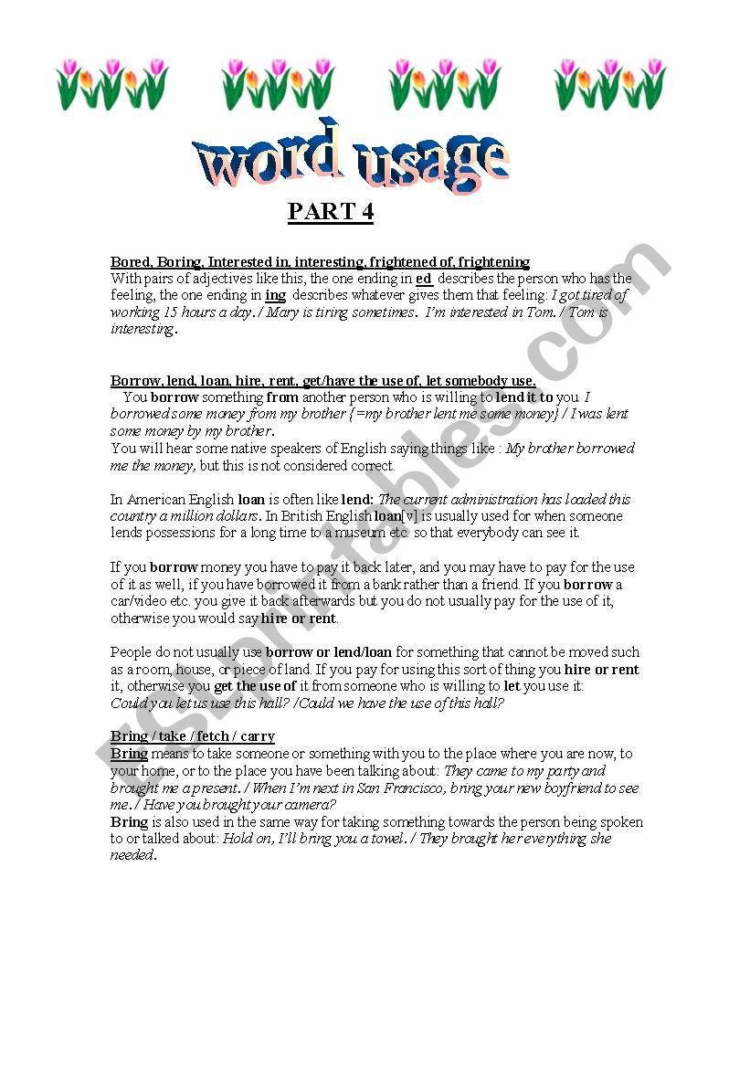 WORD USAGE 4 worksheet