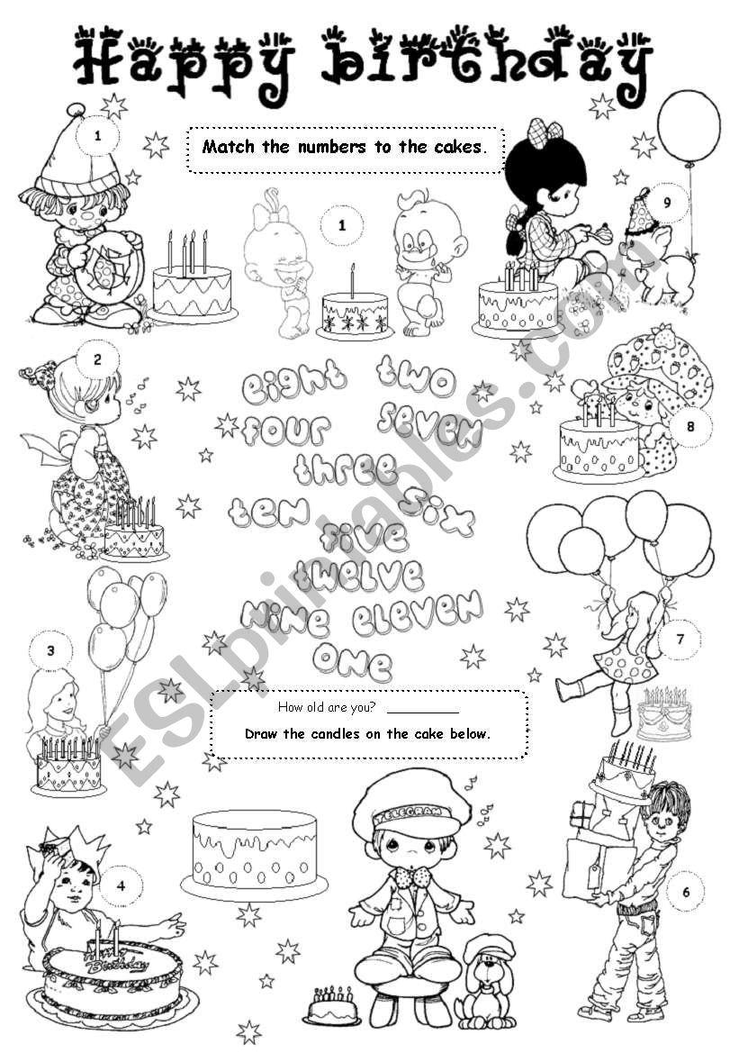 happy birthday 1 level 1 esl worksheet by gabitza. Black Bedroom Furniture Sets. Home Design Ideas