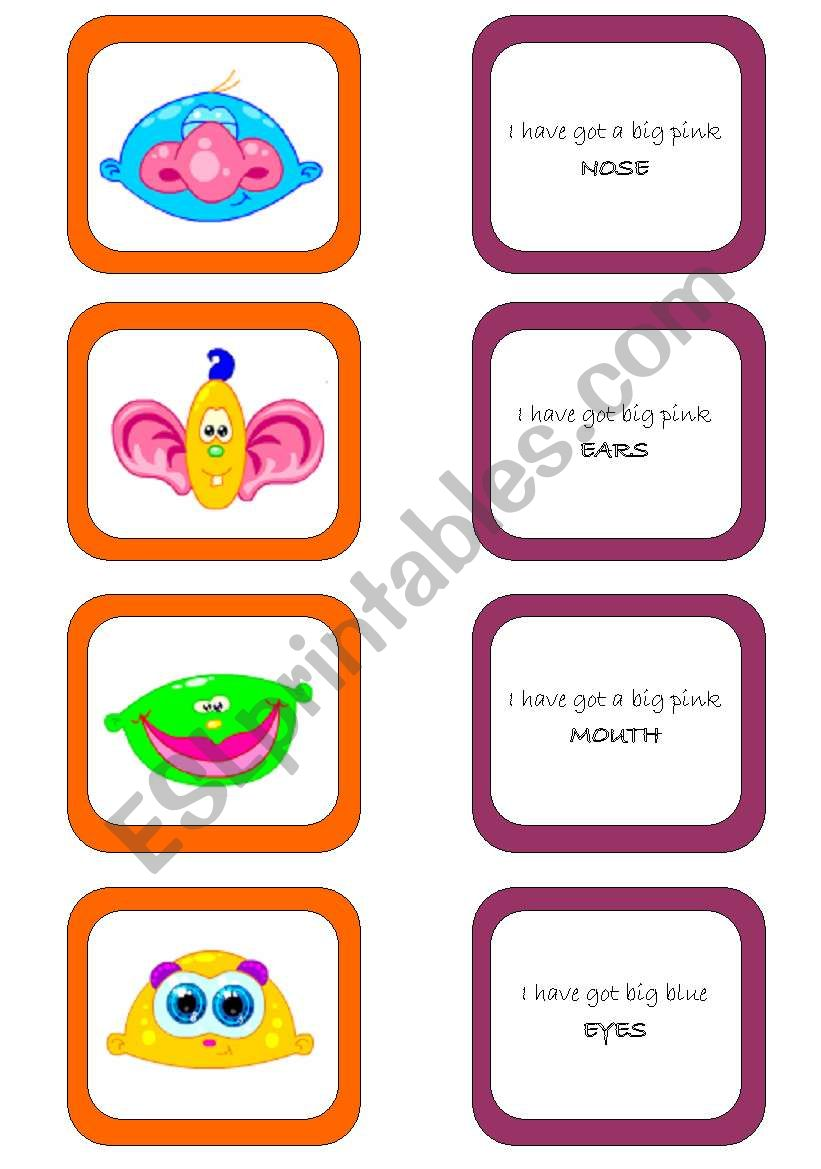 Memory card game (1/2) worksheet