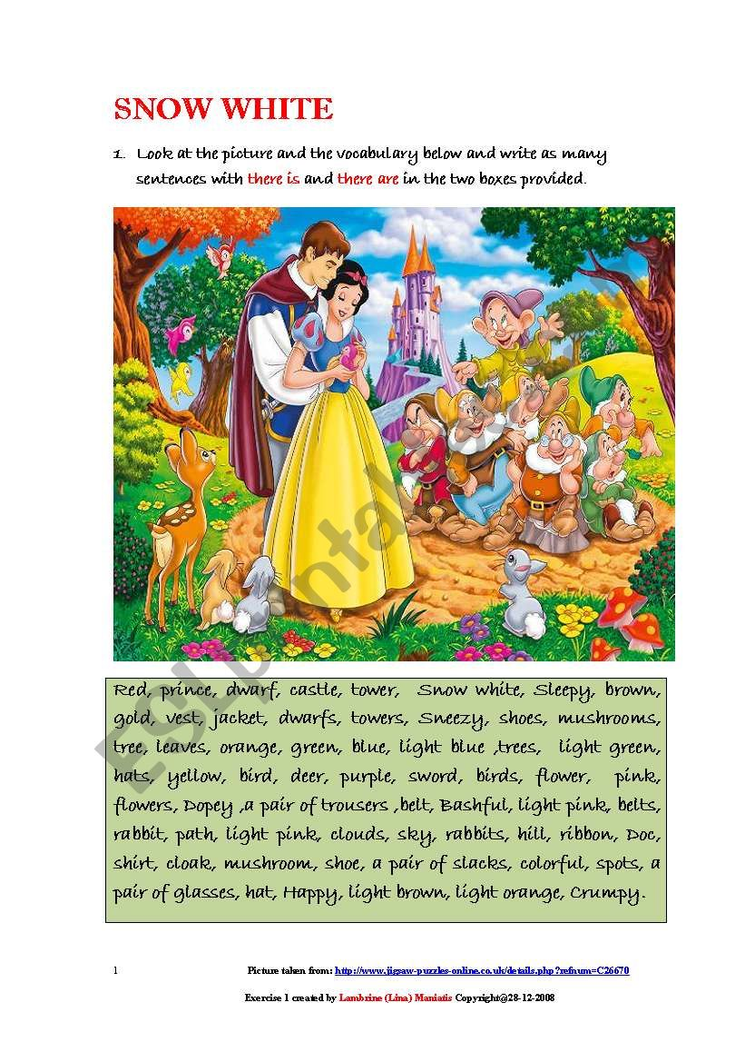 A Picture of Snow White and  various other characters -Using There is and There are