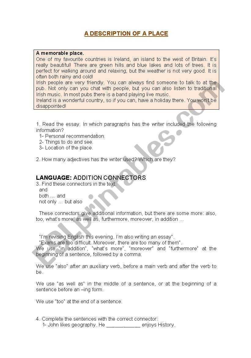 Essay Reflection Paper Examples Time For Writing A Description Of A Place How To Write A Thesis Paragraph For An Essay also Essay Thesis Statement Examples Time For Writing A Description Of A Place  Esl Worksheet By Neusferris Science Essay Questions