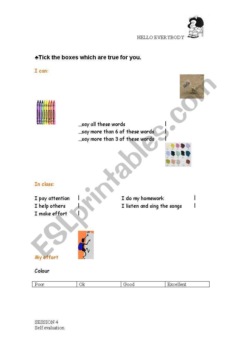 self evaluation sheet worksheet