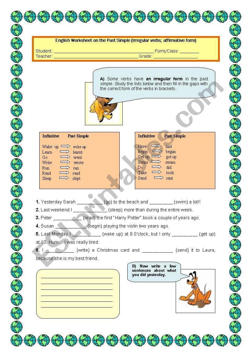 Past simple (Irregular verbs) worksheet