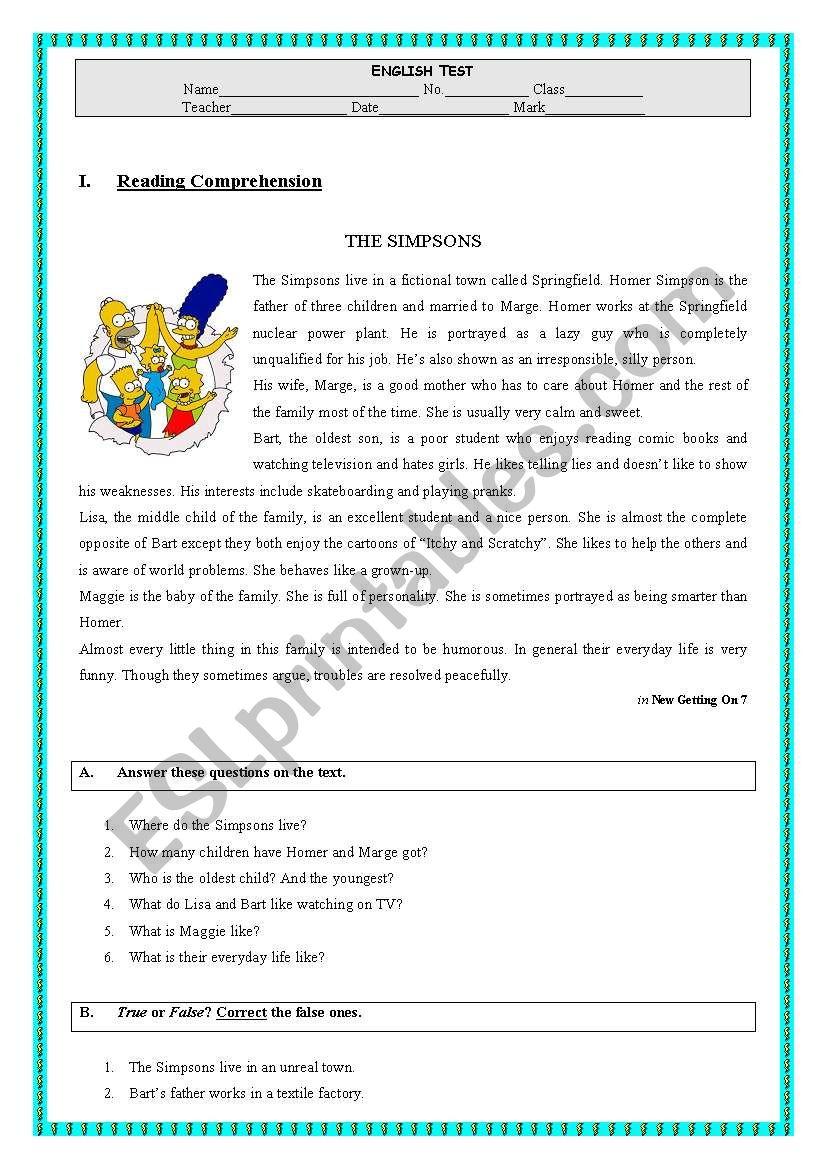 esl reading comprehension test pdf