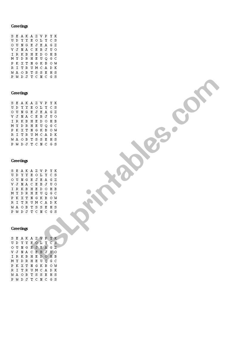 greeting worksheet