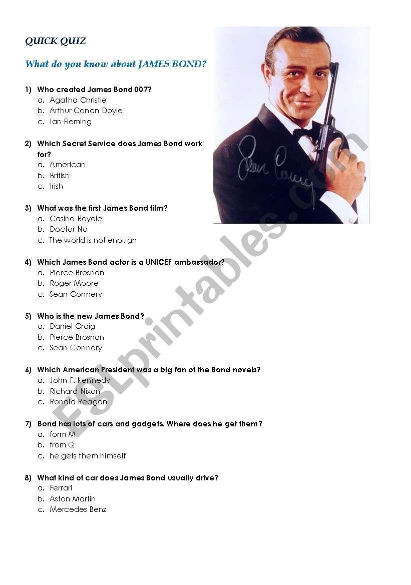 James Bond Quiz worksheet