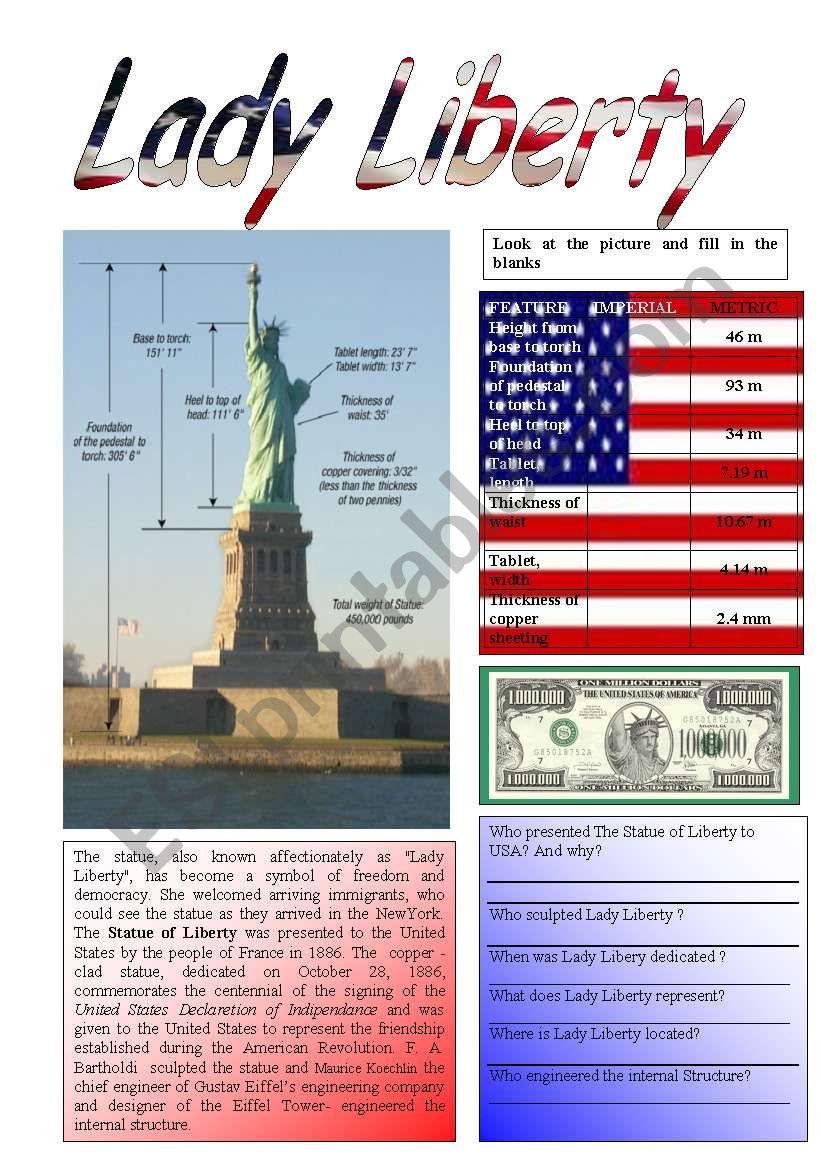 Lady Liberty 1/5 worksheet